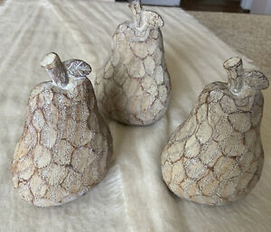 """Set of 3 Pears Carved Wood Look, 5 1/2"""" Tall"""