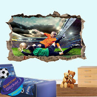 FOOTBALL GOALKEEPER GAME 3D SMASHED WALL STICKER ROOM DECORATION DECAL MURAL YO5