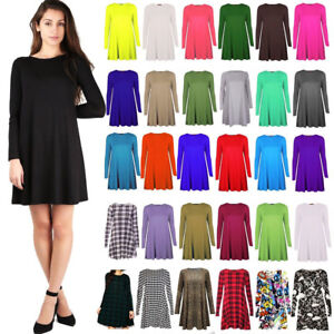 Ladies Women's Stretch A Line Skater Flared Swing Dress Long Sleeve Top UK 8-26