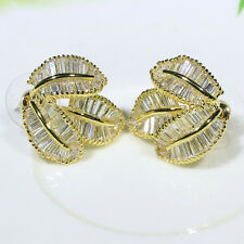18K Yellow Gold Filled AAA Baguette CZ Women Fashion Jewelry Stud Earrings E2353