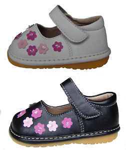 NEW Girls First Walker Shoes Fun Squeaky White or Black & Pink Flowers Size 3-7F