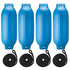 Pack Of 4 Ribbed Boat Fenders Inflatable Bumpers Dock Protection 8.5''x27'' Blue