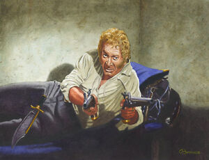 DEATH OF JIM BOWIE FESS PARKER DAVY CROCKETT AT THE ALAMO ART PRINT