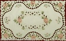 """Embroidered Rose Cutwork Floral Placemat 11x17"""" oblong #3859"""