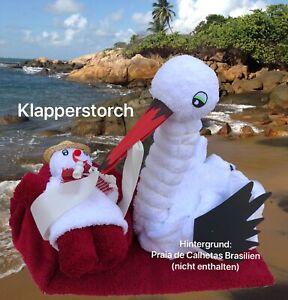 Handtuch Geschenk Figur Klapperstorch Gastgeschenk Taufe Babyparty Babyshower