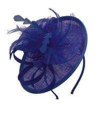 Small Ladies Wedding Hat Cobalt Blue Fascinator Round Saucer Race Headband Clip