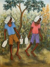 """""""Carrying Water"""" by Reynald Joseph - 2012 - Naive Haitian Art - 12 in x 16 in"""