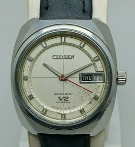 Vintage Citizen Seven Star V2 Automatic 4-720113Y Day/Date Watch