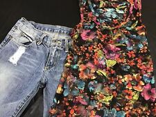 Lot Of Two Chip & Pepper Jeans Women's Sz 25 X 31 Embroidered & Lace Tank F13