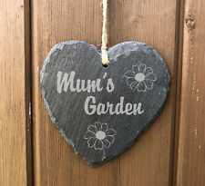 Personalised Rustic Hanging Heart Slate Plaque Sign - Mum's Garden