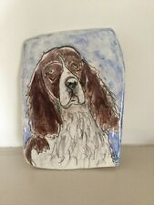English Springer Spaniel Dog Ceramic Hand Painted Art Tile By A.L 2003. #1507