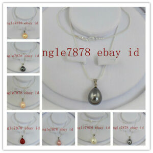Natural 12x16mm South Sea Multicolor Teardrop Shell Pearl Pendant Necklace AAA