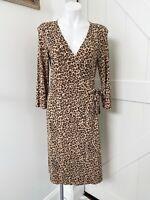 BCBGMAXAZRIA Leopard Animal Print 3/4 Sleeve Wrap Dress Brown Black Size Large
