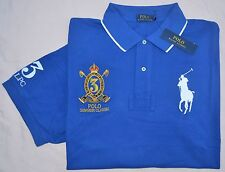 New 5XB 5XL BIG 5X POLO RALPH LAUREN Mens Big Pony rugby shirt top blue solid RL