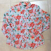 J.CREW Linen Blend Perfect Shirt Citron Floral Print Long Sleeve Lg NWT $42