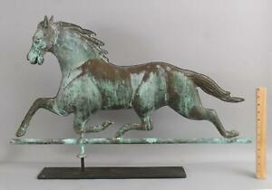 Antique Folk Art Full Body, Zinc Head Green Verdigris Trotting Horse Weathervane