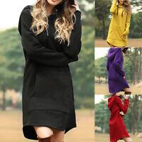 Hoodie Dress Long Women Tops Sweatshirt Hooded Jumper Sleeve Sweater Pullover