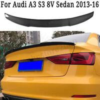 Carbon Fiber Trunk Spoiler Wing Fits For Audi A3 S3 8V Sedan 4Dr 2013 - 2017