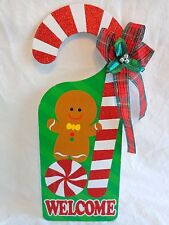 "Christmas Door Knob Hanger 14"" WELCOME GINGERBREAD MAN Candy Cane"