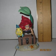 "Ariel & Flounder w/ Treasure Chest Little Mermaid 3.5"" PVC Figure Disney Store"