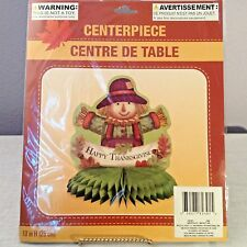 "Happy Thanksgiving Scarecrow Honeycomb Centerpiece Tabletop Leaves Acorn 10""x9"""