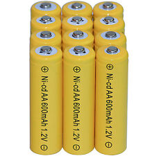 12 AA Rechargeable Batteries NiCd 600mAh 1.2v Garden Solar Ni-mh Light Nimh Lamp