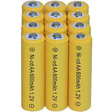 12 AA Rechargeable Batteries NiCd 600mAh 1.2v Garden Solar Ni-mh Light Nimh Lamp