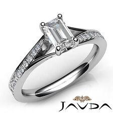 Lustful Emerald Diamond Pave Set Engagement Ring GIA F VS1 18k White Gold 1.07Ct