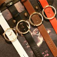 Elegant Women Classic Casual Hollow Quartz Watch Leather Strap Wrist Watches HOT