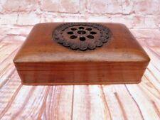More details for quality vintage carved wood cigar box
