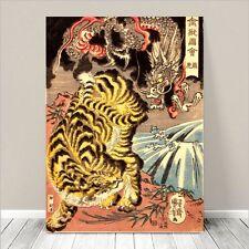 "Awesome Japanese SAMURAI DRAGON TIGER Art CANVAS PRINT 8x10""~ Kuniyoshi  #069"