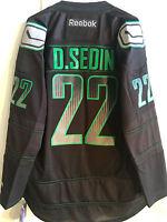 Reebok Premier NHL Jersey Vancouver Canucks Sedin Black Accelerator sz L