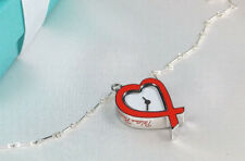 Tiffany & Co. Paloma Picasso Red Loving Heart Watch Charm Pendant Necklace 24 IN