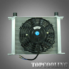 30 Row Aluminum Transmission Oil Cooler + 7 Inch Electric Fan + Kits