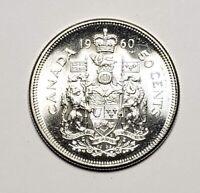 Canada 1960 Silver 50 Cents Half Dollar Coin