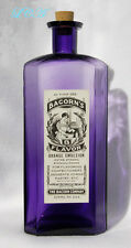 Gigantic antique Embossed & Labeled pure purple Extract bottle Elmira N Y