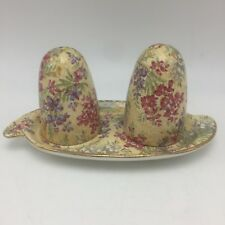 Nelson Ware HEATHER Salt Pepper Tray Yellow Chintz Floral on Yellow Dot Gold Trm
