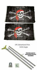 3x5 Jr Pirate Surrender The Booty 2ply Flag Galvanized Pole Kit Eagle Top 3'x5'