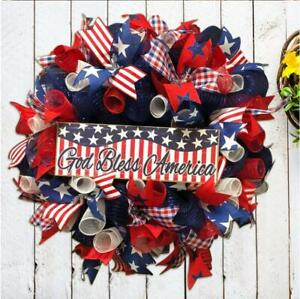Independence Day Wreath American Flag Garland Porch Door Sign Home Decoration