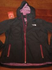 EX $249 NORTH FACE MEDUSA HyVent RAINCOAT hooded JACKET Black Orchid WOMENS L