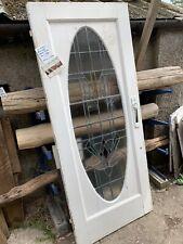 SUPERB RECLAIMED  - LEADED COLOURED GLASS - GRAND FRONT DOOR (Art Deco era)