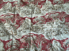 P Kaufman Fabric Deers Stags Forest Red Tan Brown Fall 3 Yards