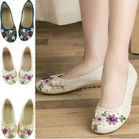 Ladies Casual Slip On Flat Loafer Canvas Shoes Embroidered Flower Walking Pumps