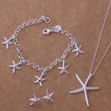 NEW Pretty 925P Silver Starfish Necklace, Bracelet & Earrings Set, UK Seller