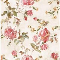 Wallpaper Designer Pink Red Gold Green Rose Trail on Cream Faux