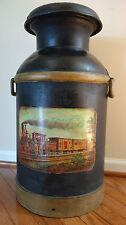 Antique Supplee Philadelphia PA NY 10 Gallon Milk Can Painted Train Engine Eagle