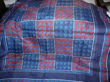 VINTAGE BLUE & RED GEOMETRIC SQUARES STYLE NYLON / VISCOSE SQUARE  SCARF L91-19