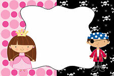 30 Pirate Princess Blank Cards For Invitation Thank You Notes Kids Birthday A1