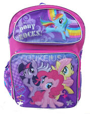 "My Little Pony Large School Backpack 16"" Book Bag - Pony Rocks Rainbow Stars"