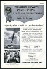 1953 Lymington Slipway Lion Class yacht sailboat photo vintage print ad